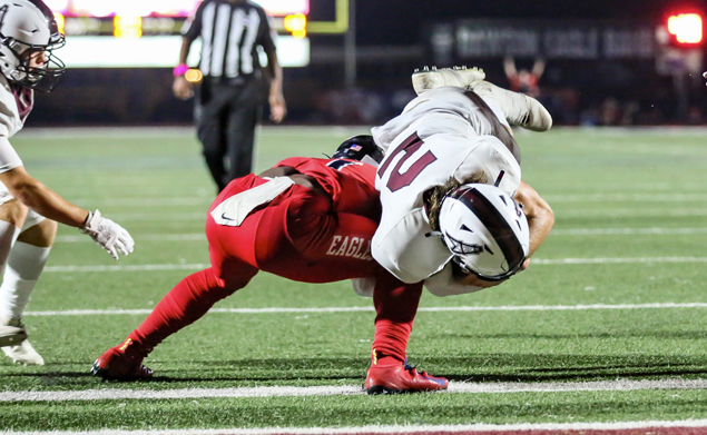 DIVING INTO THE END ZONE - Pearland senior quarterback J.D. Head found the end zone for a 4-yard touchdown against Dawson in the PearBowl cutting the lead to 37-29 with 9:50 remaining in the fourth quarter. A 32-yard field goal by Carter Brown put the Eagles ahead 40-29 with 1:54 left in the game which stood at the final buzzer. Dawson's win ties up the series 3-3 since both schools began playing in the same district in 2014. (Photo by Lloyd Hendricks)