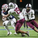 DEFENSIVE EFFORT - Pearland made a strong defensive effort against the Atascocita Eagles but came up short 21-6 that eliminated the Oilers from the Class 6A Region III Div. I area round. Junior K'Von Sherman (19) and senior Kele Linton (1) try to tackle Atascocita's Quincy Thompson (24). Pearland closes out the 2020 season with an 8-3 record. (Photo by Lloyd Hendricks)