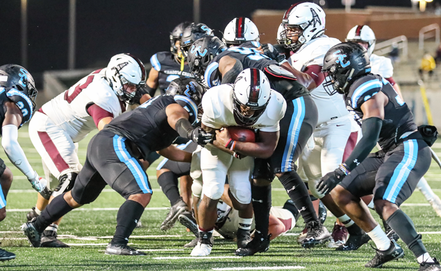 TOUGH TD RUN - Pearland senior RB Darius Hale found the end zone on a 5-yard run against Shadow Creek to give the Oilers an early 6-0 lead. That would be the last score for Pearland as the Sharks went on to a 20-6 district win. Pearland is now 6-2 on the season and 4-2 in league action. Shadow Creek improved to 4-2 overall and 4-0 in the league standings. Pearland will host the winless Alvin Yellowjackets on Friday, November 20 at The Rig at 7:00 p.m. (Photo by Lloyd Hendricks)