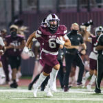 RECORD-TYING RUN - Pearland junior running back Dominic Serna (6) brought the crowd to their feet when he reeled off a PHS record-tying 98-yard touchdown romp against The Woodlands to help the Oilers to a 21-3 non-district win in the 2020 opener for both teams. Serna tied the record set by former All-State Pearland running back Dustin Garrison in 2010 when he scored on a 98-yard run against La Porte. The Oilers went on to win the 5A Div. I state title that season with a 16-0 mark. Serna led Pearland with 121 yards and a TD on seven carries. (Photo by Lloyd Hendricks)