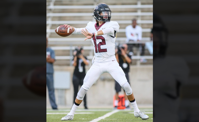 ON TARGET - New Pearland quarterback J.D. Head (12), who is an Oklahoma transfer, made a major statement in his first appearance in a Oilers' uniform when he hit 14-of-19 passing for 197 yards with one INT in leading the Oilers to a convincing 47-10 win over the Cy-Springs Panthers. Pearland will host Spring Branch Memorial on Friday, September 7 at 7:00 p.m. at The Rig. (Photo by Lloyd Hendricks)
