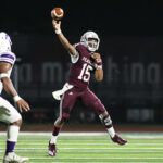 Pearland freshman QB Jackson Hamilton threw his first high school TD pass when both teams went to the bench in the 4th quarter. With good arm strength and excellent running ability, Hamilton shows a lot of promise for the Oilers' future. (Photo by Lloyd Hendricks)