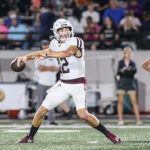 TOUCHDOWN THROW - Pearland senior QB Jake Sock (12) throws one of his three touchdown passes against Alvin as the Oilers beat the Jackets 56-14. Sock was 7-of-10 passing for 166 yards and and three TDs. Pearland will host Alief Elsik on Friday, October 8 at 7:00 p.m. at The Rig. (Photo by Lloyd Hendricks)
